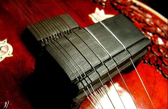 シタール用ブリッジ(ジャワリ) 7 - 類似モデルのジャワリの使用例です。この様に弦の所に切れ目を入れたり、全面を多少丸くし、弦の音色が良くなるようチューニングして使用します