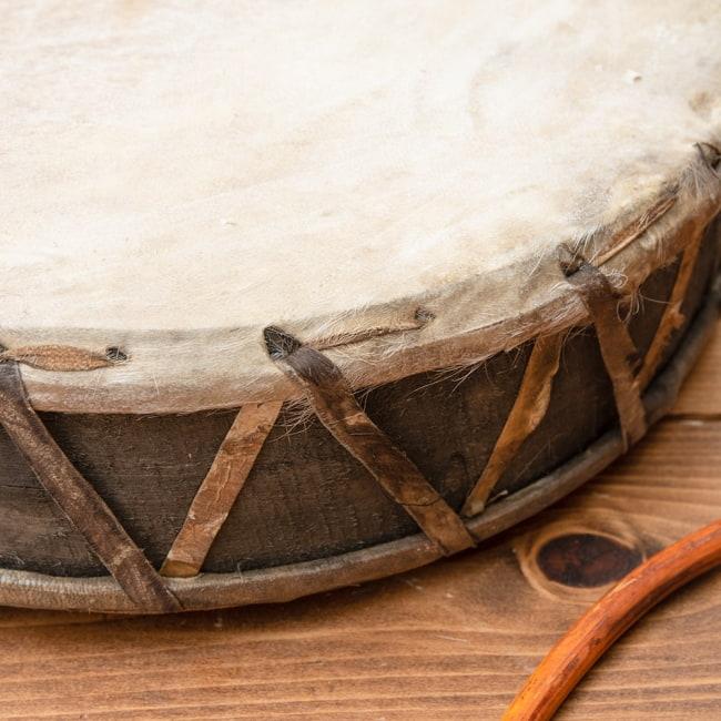 チベットの太鼓 チベット仏教の儀式で使われる打楽器 - ガ(rnga) 9 - ヤギ革が張られています。