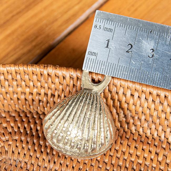 【5個セット】インドの鈴 貝殻グングル[約4.3cm×約3cm] 6 - 紐をつけるところのサイズはこちら
