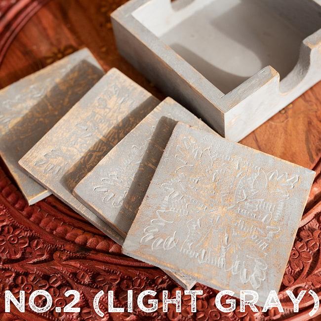 〔4枚入り〕マンゴーウッドの更紗模様付き アンティーク調コースターセット 14 - 〔No.2〕ライトグレー系
