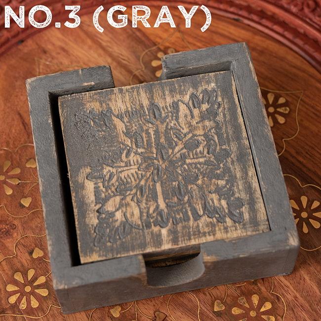 〔4枚入り〕マンゴーウッドの更紗模様付き アンティーク調コースターセット 15 - 〔No.3〕グレー系