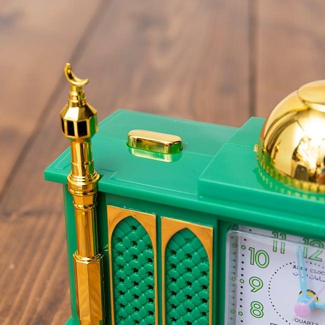 アザーン目覚まし時計−モスク-緑 2 - 左肩にオン・オフのスイッチがあります。