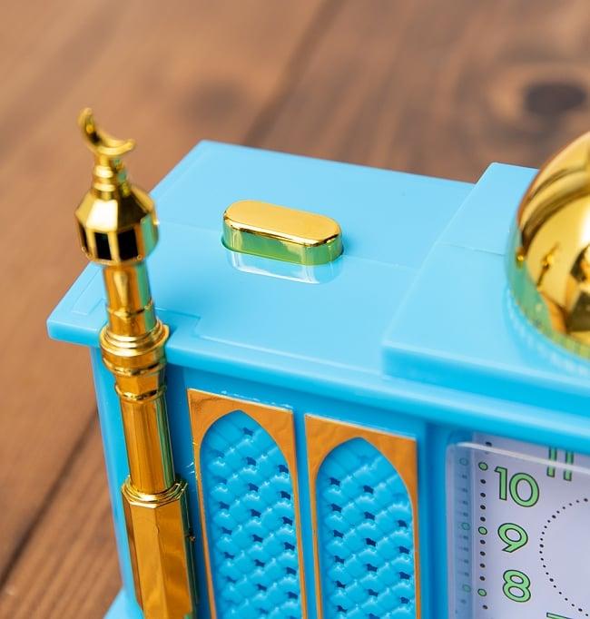 アザーン目覚まし時計−モスク-青 2 - 左肩にオン・オフのスイッチがあります。