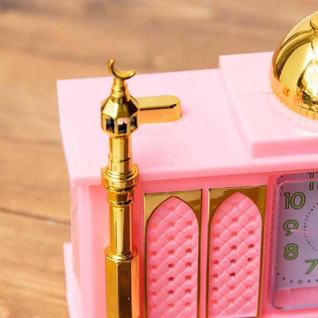 アザーン目覚まし時計−モスク-ピンク 2 - 左肩にオン・オフのスイッチがあります。