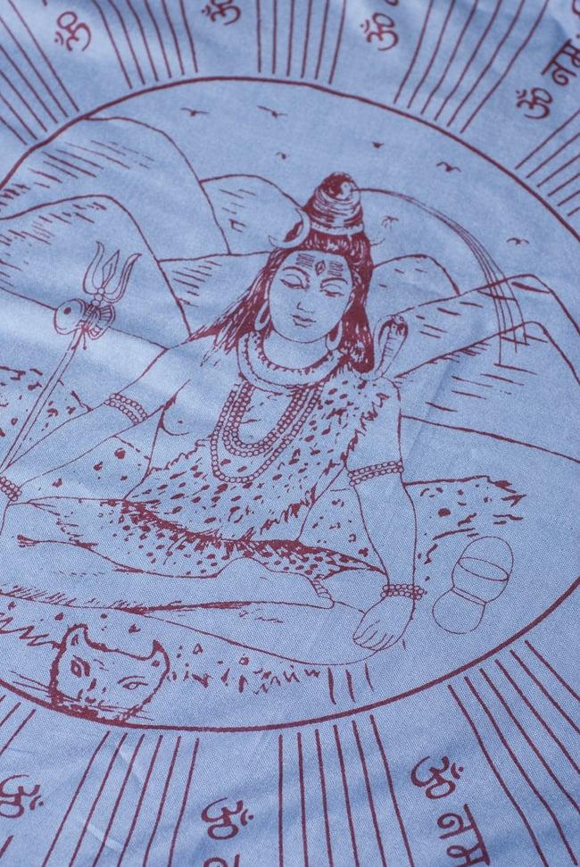 [200cmx100cm]座りシヴァのラムナミ 青灰の写真2 - 中央には大人気のシヴァ神が座っています。