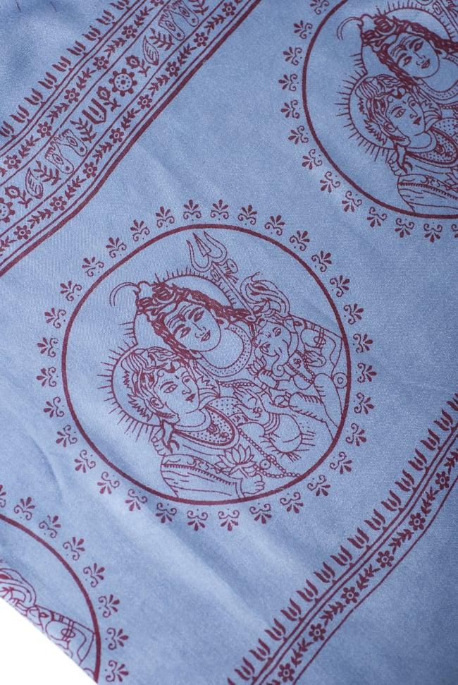 [200cmx100cm]座りシヴァのラムナミ 青灰の写真3 - 端側にはシヴァファミリーがいます。