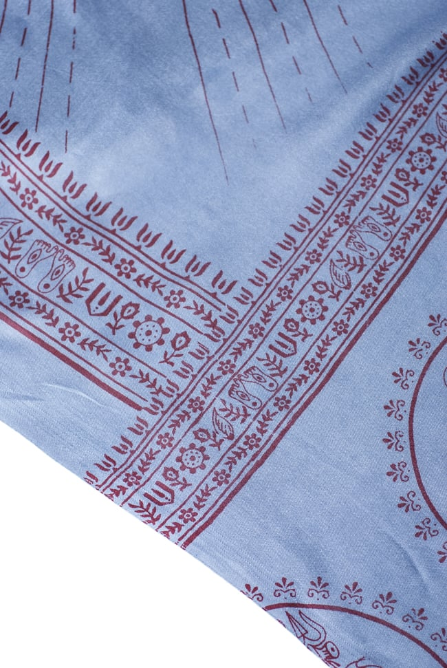 [200cmx100cm]座りシヴァのラムナミ 青灰の写真4 - 文様部分の様子です。