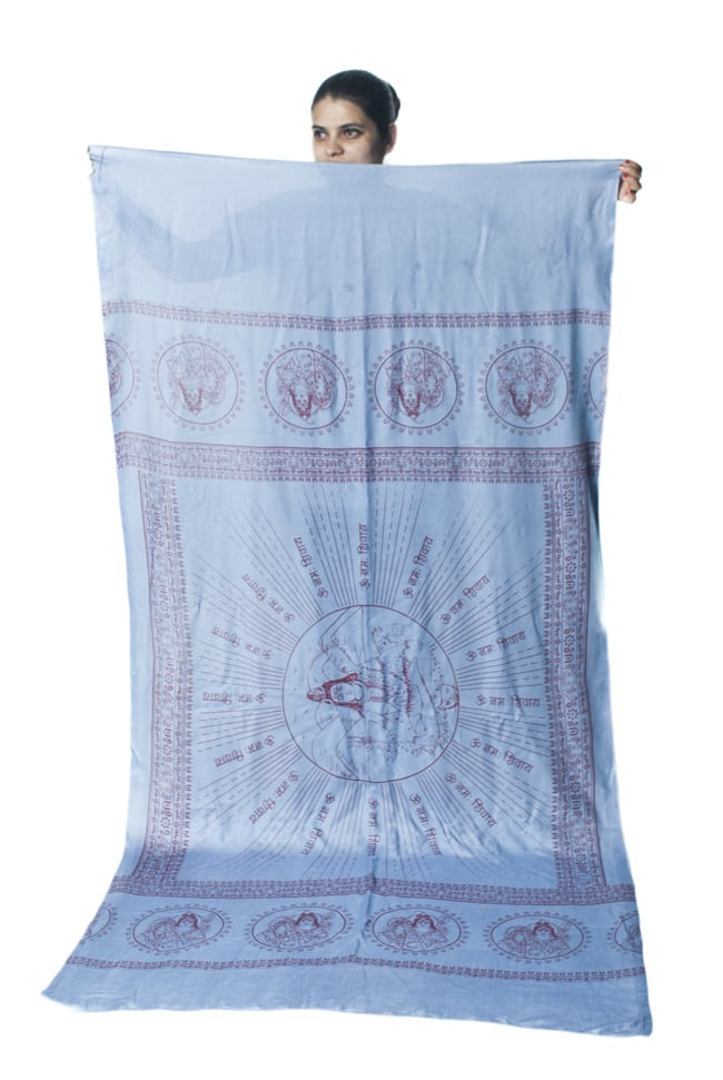 [200cmx100cm]座りシヴァのラムナミ 青灰の写真8 - 小柄な女性が持ってみました。模様の広がりと大きさがわかりますね