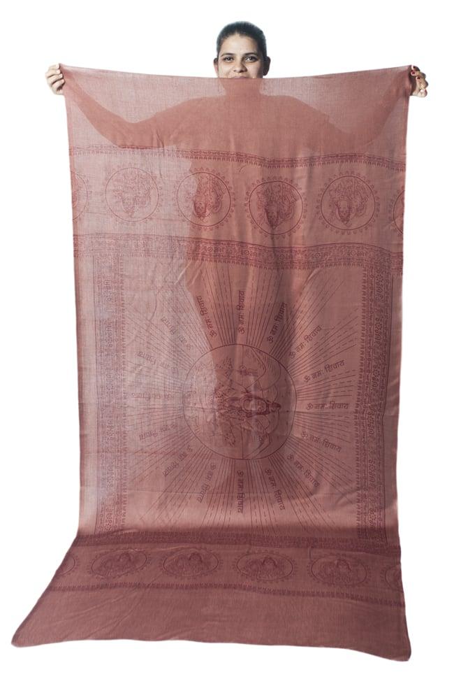 [200cmx100cm]座りシヴァのラムナミ 茶の写真8 - 小柄な女性が持ってみました。模様の広がりと大きさがわかりますね