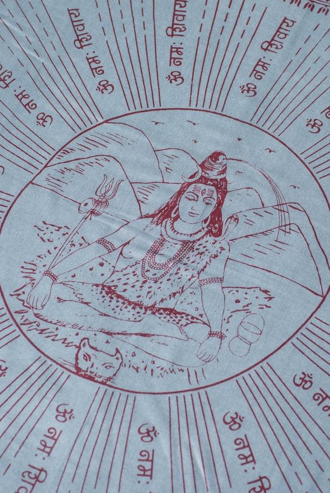 [200cmx100cm]座りシヴァのラムナミ グレーの写真2 - 中央には大人気のシヴァ神が座っています。