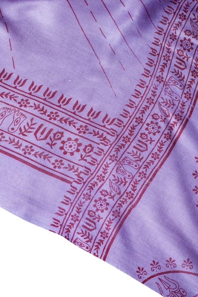 (200cmx100cm)座りシヴァのラムナミ 紫 4 - 文様部分の様子です。