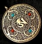 青と赤の石のヴァジュラとオーンのペンダント(革紐付き)