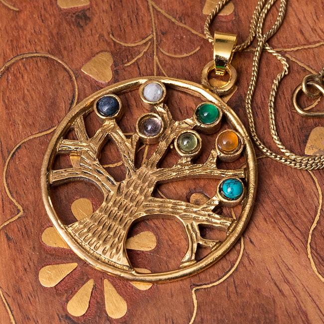 生命の木 Life of Tree の天然石ゴールドペンダントトップ 【チェーン付き】  -直径約3.5cmの写真
