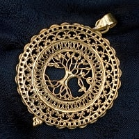 生命の木 Tree of Life のゴールドペンダントトップ 【首用の紐付き】  -直径約4cm