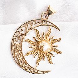 インドから来たゴールドペンダントトップ -太陽と月