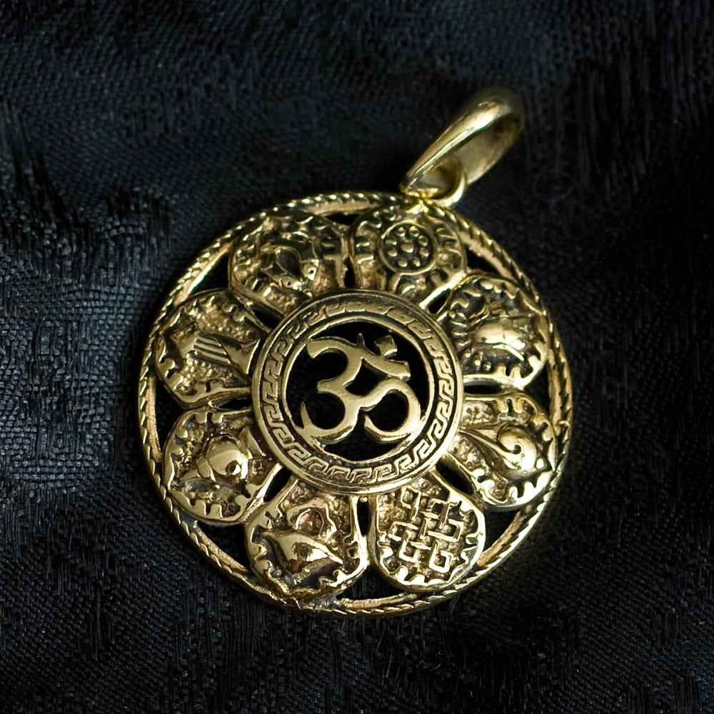 チベット八吉祥のペンダントトップ【紐付き】 6 - 選択2のオームです