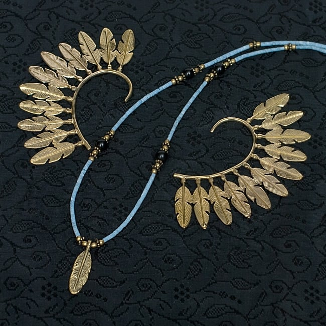 インドのストーンネックレス【フェザー】 6 - イヤ—フックとセットで使用してもとても可愛いですね!※こちらは同類商品です。【イヤーフック:ID-PIAS-1218】