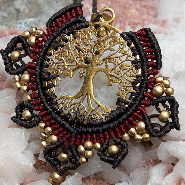 生命の木 Tree of Life のマクラメ ネックレス 10 - 選択3:黒と赤です