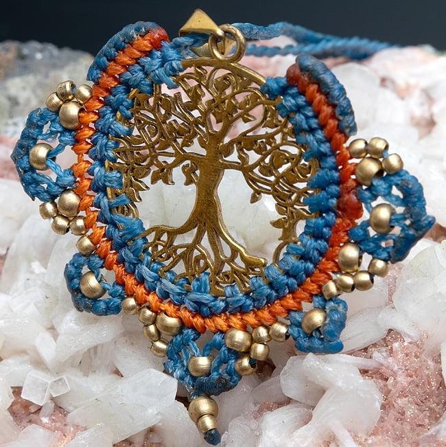 生命の木 Tree of Life のマクラメ ネックレス 12 - 選択5:水色とオレンジです