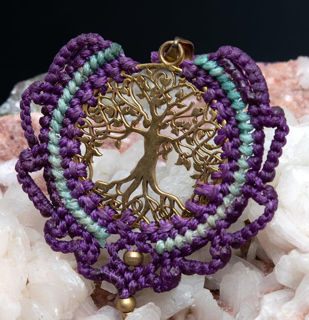 生命の木 Tree of Life のマクラメ ネックレス 15 - 選択7:紫と水色です