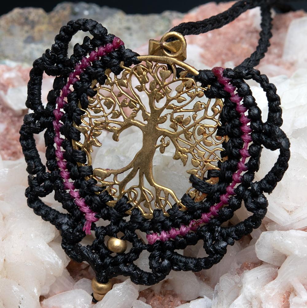 生命の木 Tree of Life のマクラメ ネックレス 2 - 全体写真です
