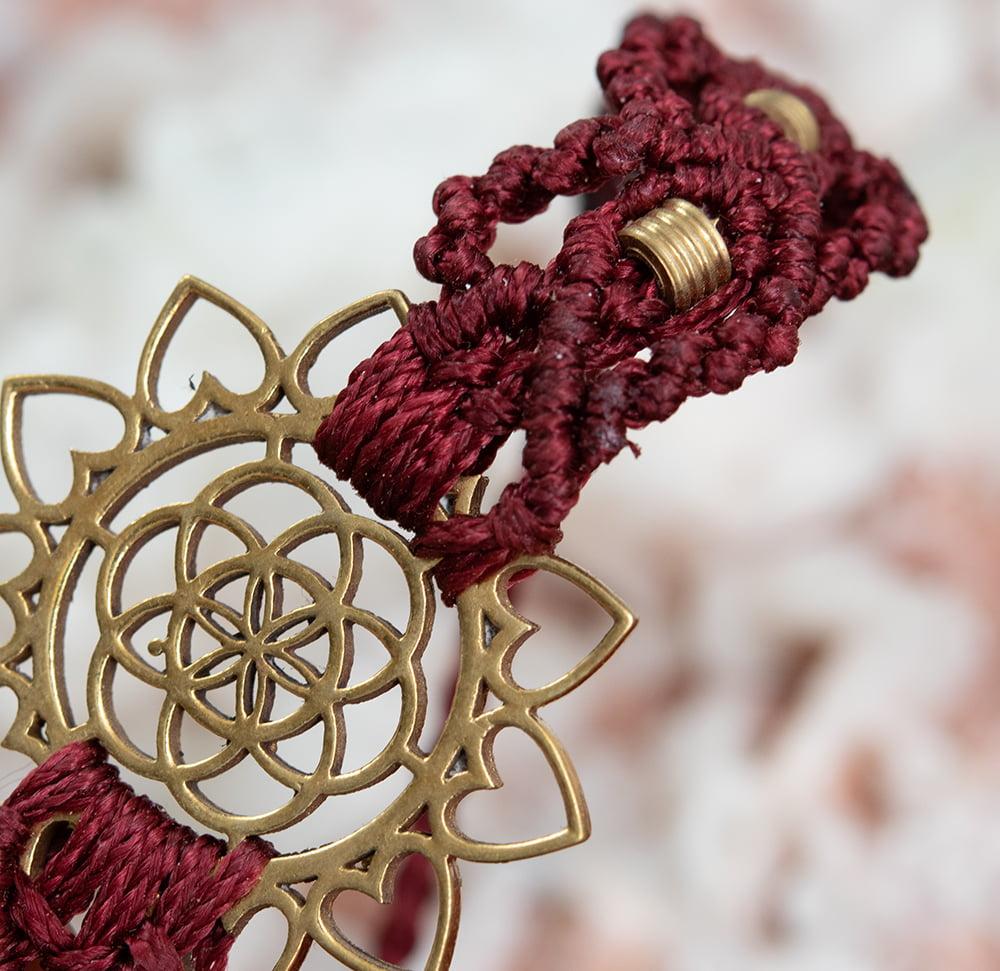 Flower of  Life マクラメ編みブレスレット 11 - 選択5:赤色です