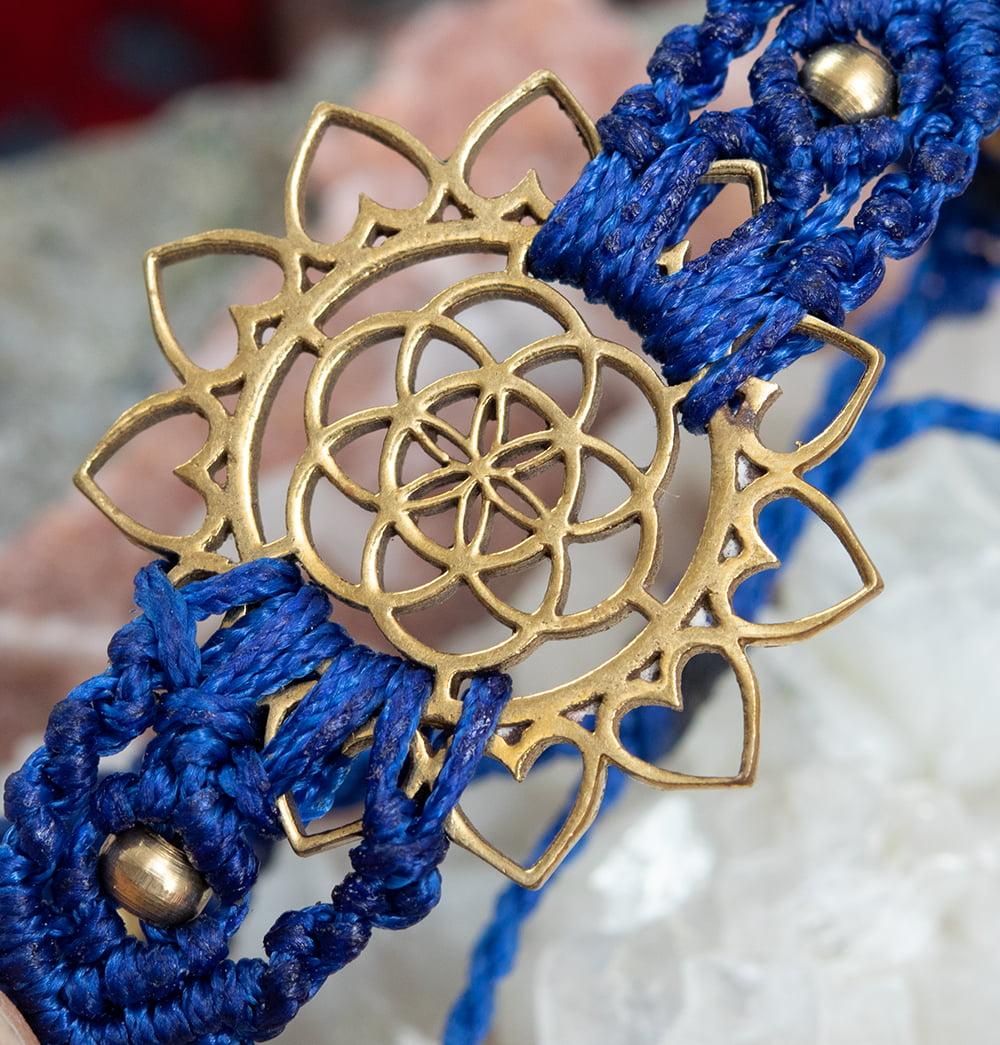 Flower of  Life マクラメ編みブレスレット 5 - Flower of lifeのパーツ部分のアップです