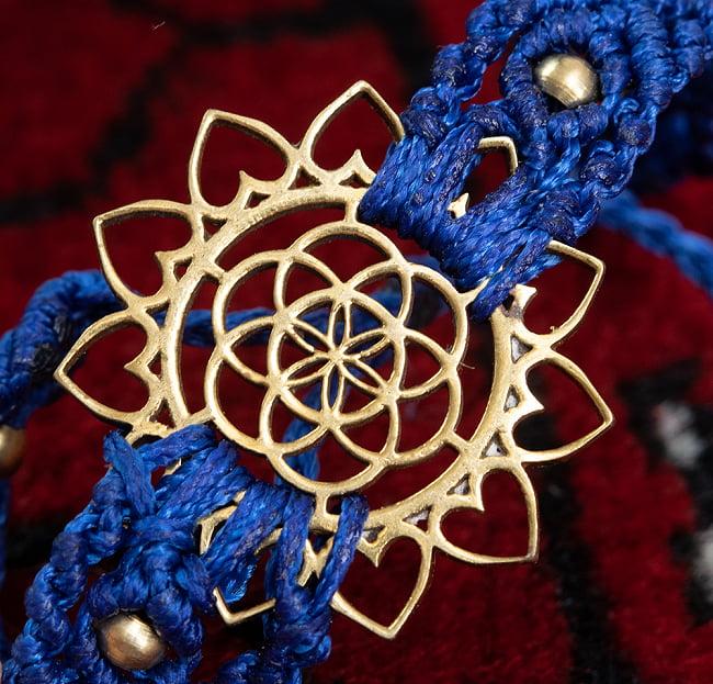 Flower of  Life マクラメ編みブレスレット 6 - 選択1:青色です