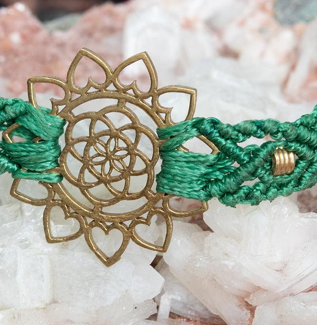 Flower of  Life マクラメ編みブレスレット 9 - 選択4:緑色です