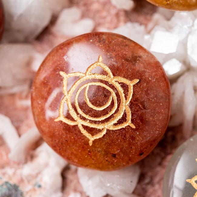 チャクラストーン チャクラヒーリングに使われる天然石パワーストーン7個セット 4 - 第2チャクラ 仙骨(Sacral Chakra) ストーンの例:オレンジジャスパー/オレンジアベンチュリン等