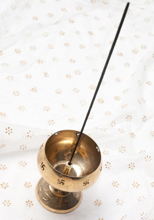 オーンと卍のオイルランプ 【16cm】 5 - お香立てとしても使えます
