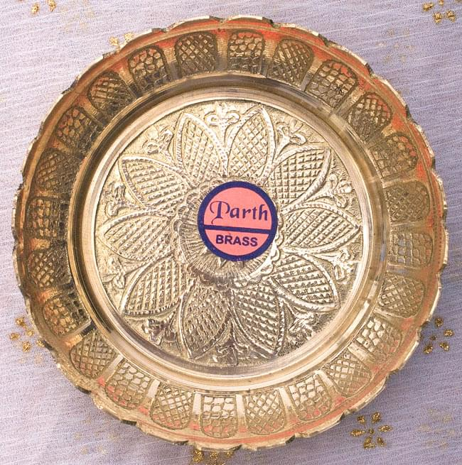 インド風水のプレート(kachwa plate) - 約10cm 2 - 美しい紋様の施された皿