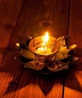 蓮の花のオイルランプ&お香立て [直径12cm]