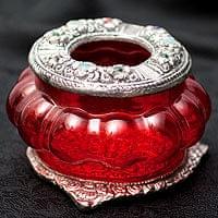 ホワイトメタル装飾 カラーガラス灰皿 - (赤)