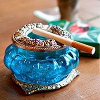 ホワイトメタル装飾 カラーガラス灰皿 - (水)