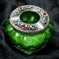 ホワイトメタル装飾 カラーガラス灰皿 - (緑)