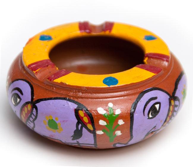 ミティラー村の陶器の灰皿 - 紫 3 - 斜めから撮影