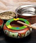 ミティラー村の陶器の灰皿 - 緑