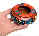 ミティラー村の陶器の灰皿 - 青