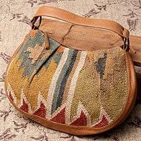 【一点物】伝統を紡いだ インドキリムのムーンショルダーバッグ