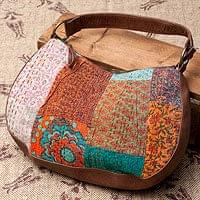 〔一点物〕伝統を紡いだ ラリーキルトのムーンショルダーバッグ