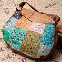 【一点物】伝統を紡いだ ラリーキルトのムーンショルダーバッグ