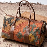 〔一点物〕伝統を紡いだ インドキリムのボストンバッグ