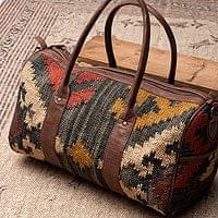 【一点物】伝統を紡いだ インドキリムのボストンバッグ