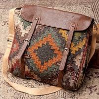 【一点物】伝統を紡いだ インドキリムのスクエア型ショルダーバッグ