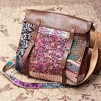 【一点物】伝統を紡いだ ラリーキルトのスクエア型ショルダーバッグ