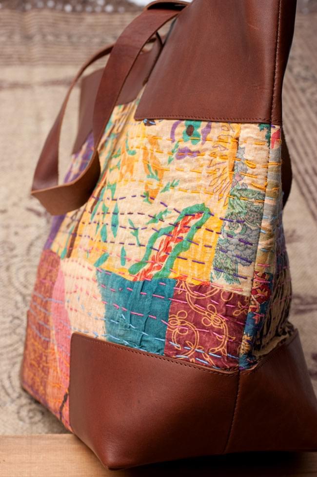 〔一点物〕伝統を紡いだ ラリーキルトのトラベルバッグ 5 - レザーも贅沢に使われています