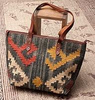 【一点物】伝統を紡いだ インドキリムのトートバッグ