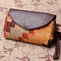 【一点物】伝統を紡いだ インドキリムのクラッチウォレット