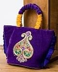 インドのゴージャスハンドバッグ - ワンポイントペイズリー